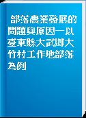 部落農業發展的問題與原因-以臺東縣大武鄉大竹村工作地部落為例
