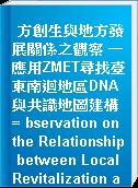 方創生與地方發展關係之觀察 -應用ZMET尋找臺東南迴地區DNA與共識地圖建構= bservation on the Relationship between Local Revitalization and Development-Using ZMET to Find DNA and Consensus Map Construction in the South-Link Highway Region of Taitung