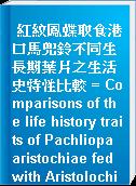 紅紋鳳蝶取食港口馬兜鈴不同生長期葉片之生活史特性比較 = Comparisons of the life history traits of Pachliopa aristochiae fed with Aristolochia zollingeriana leaves of different developmental stages