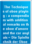 The Techniques of oboe playing : a compendium with additional remarks on the oboe d