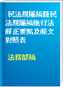 民法親屬編暨民法親屬編施行法修正要點及條文對照表