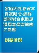 家庭內社會資本.自我概念.族群認同對台東縣原漢學童學習適應之影響